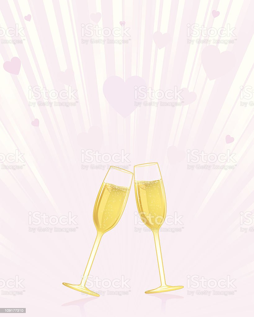 Light burst with hearts and champagne royalty-free stock vector art