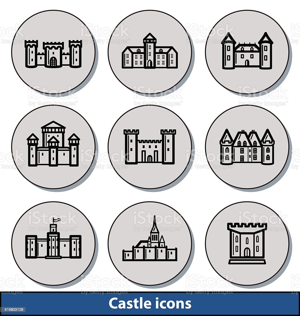 Light castle icons vector art illustration