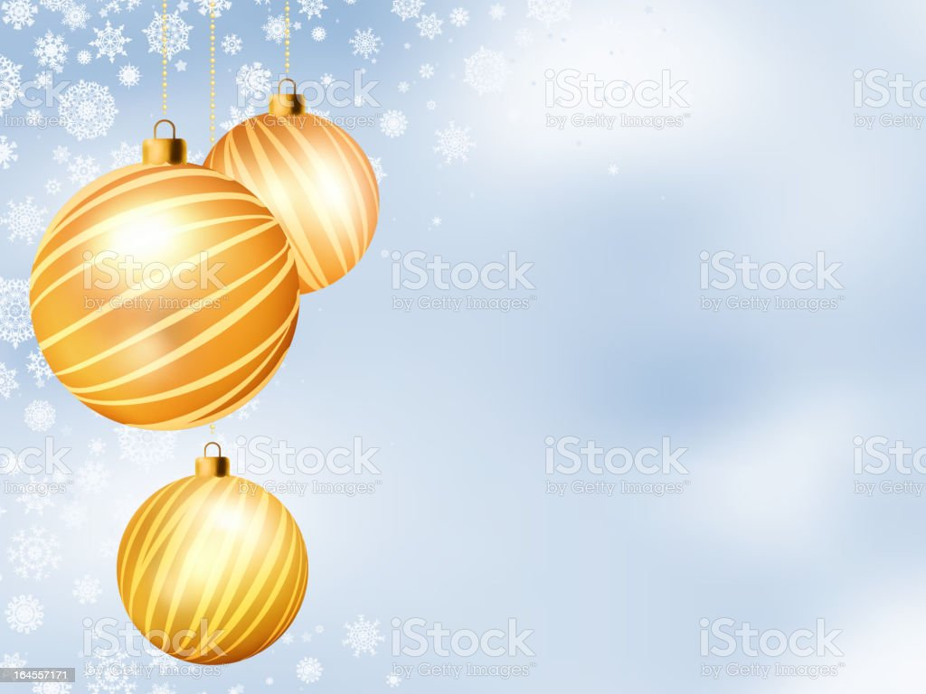 Light Christmas backdrop with Three balls. EPS 8 royalty-free stock vector art