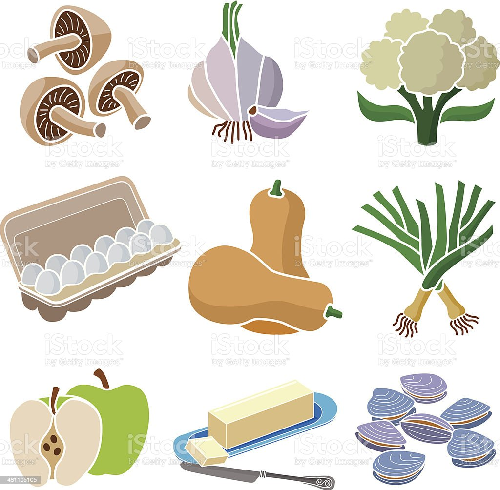 light colored foods vector art illustration
