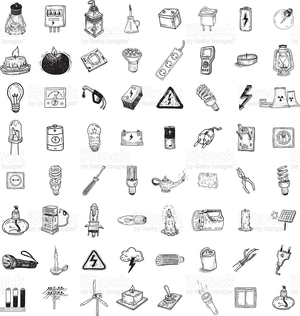Light Doodle icon collection, vector illustration. vector art illustration