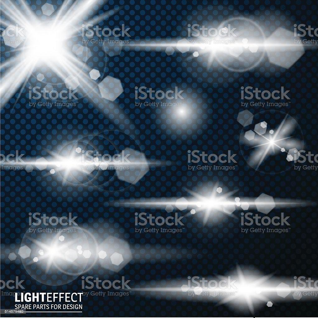 Light effect, flare, lighting. Spare parts for illustration. vector art illustration