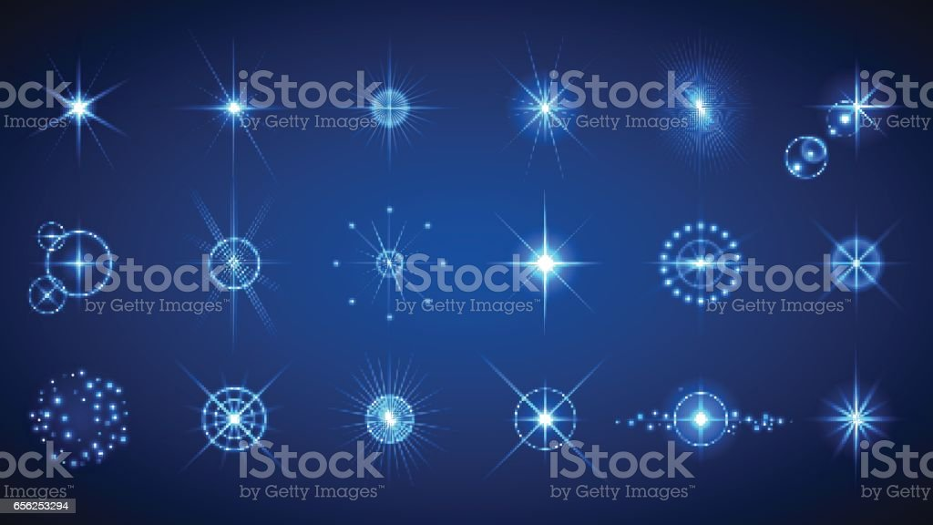 Light effects set vector art illustration
