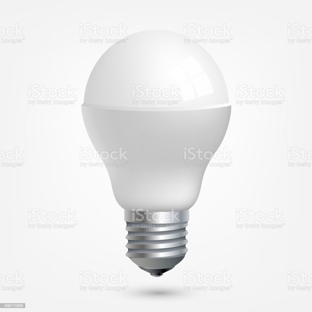 LED light emitting diode energy saving light bulb vector art illustration