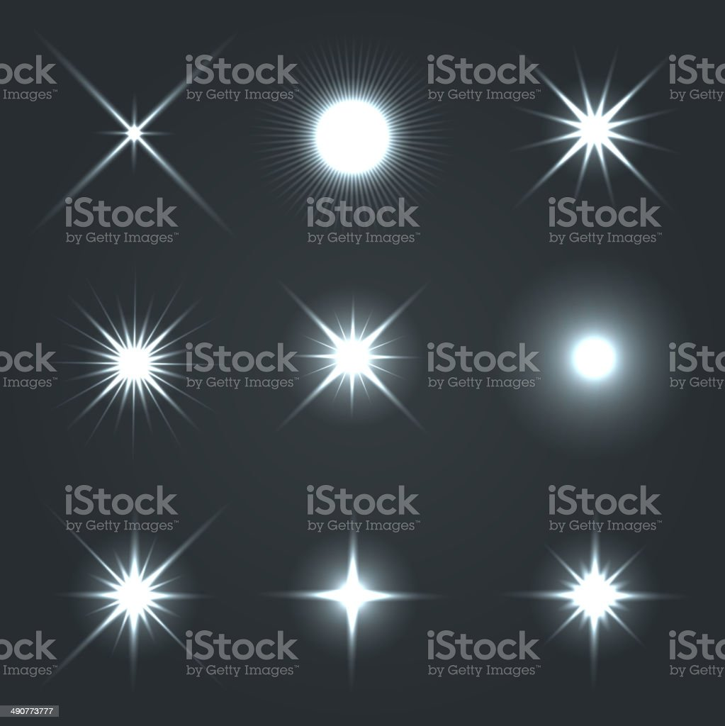 Light Glow Flare Stars Effect Set. royalty-free stock vector art