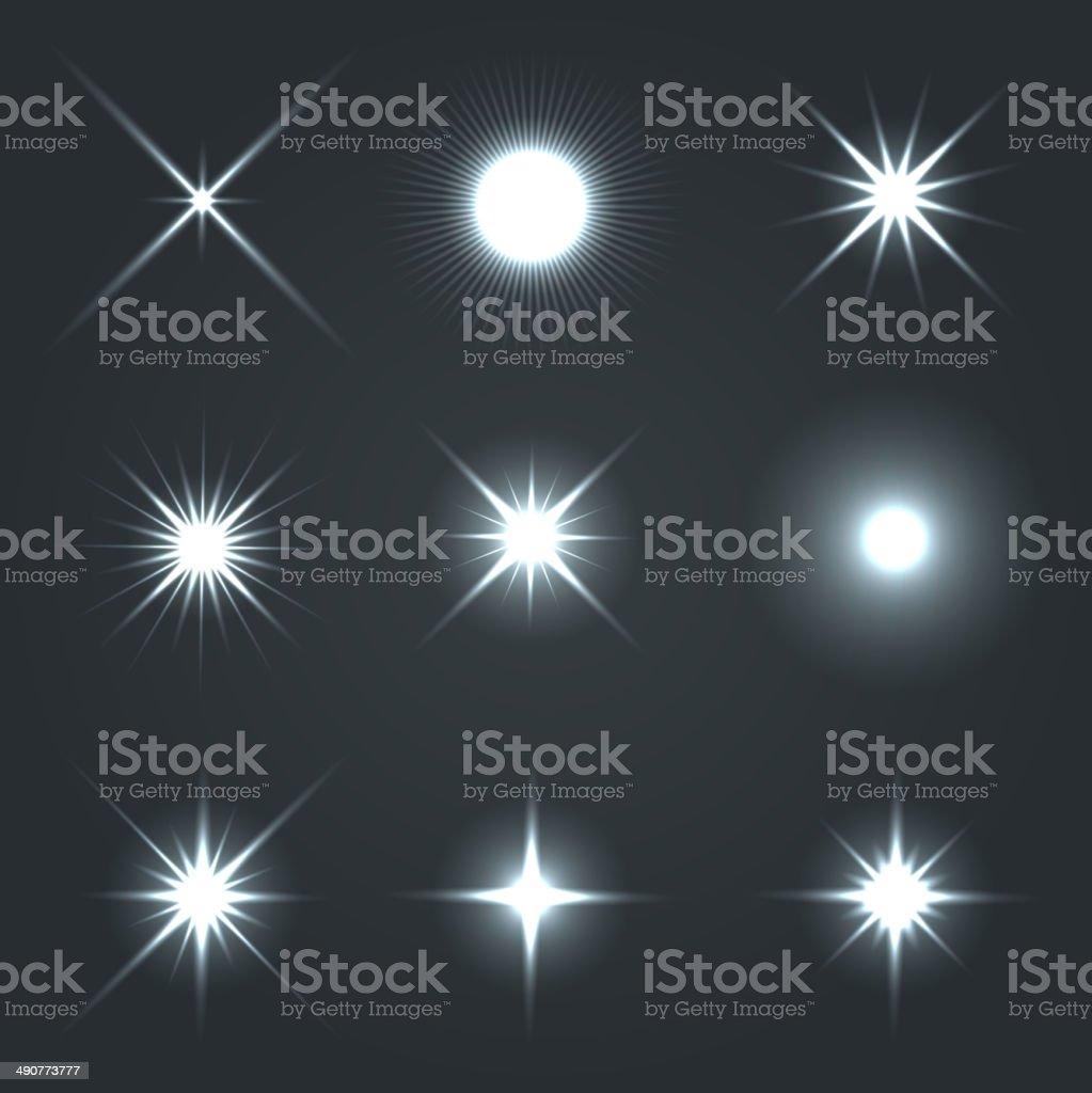 Light Glow Flare Stars Effect Set. vector art illustration