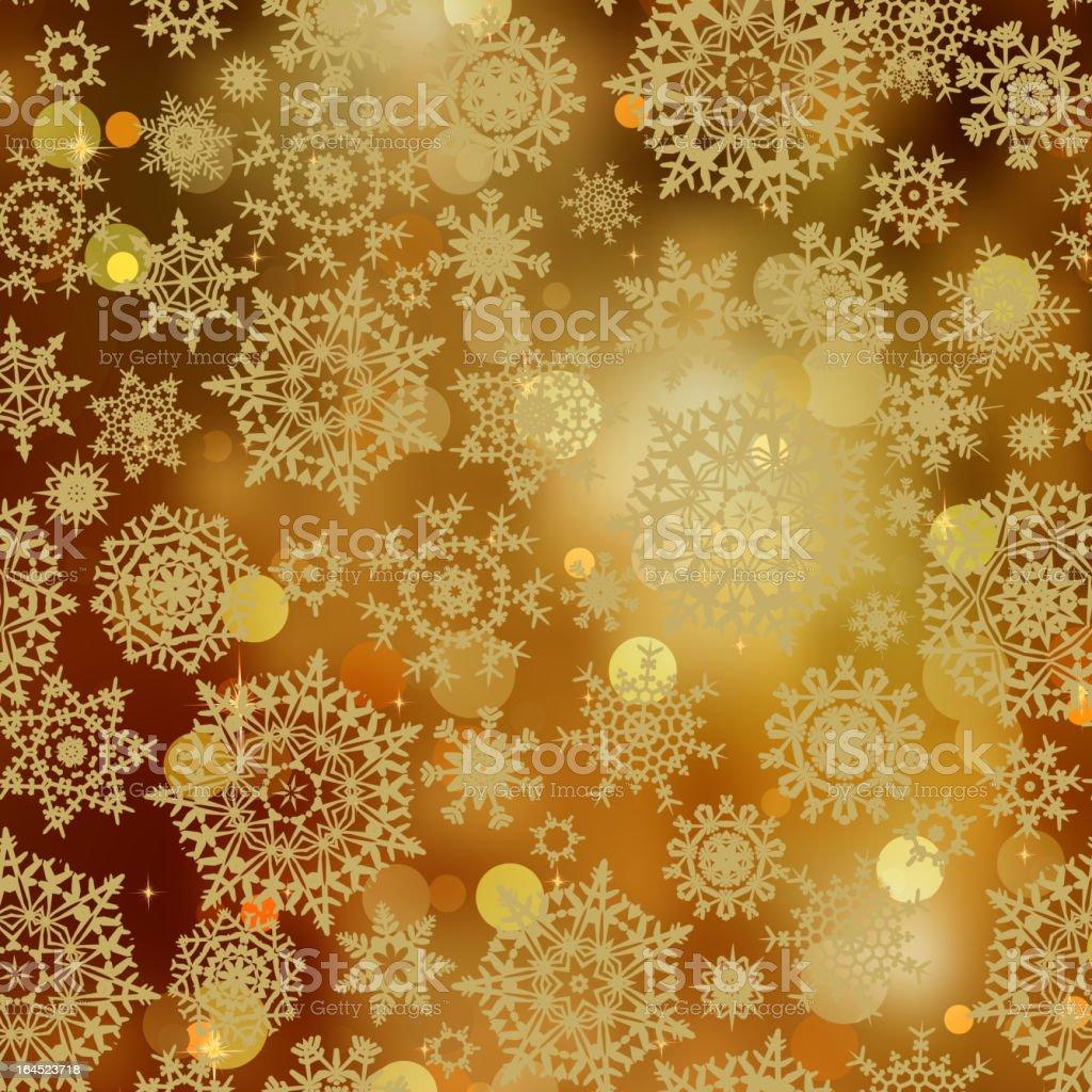 Light gold snowflakes and glitter sparkles. EPS 8 royalty-free stock vector art
