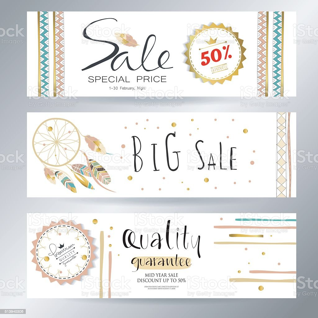 Light green gold pink tag sale in boho style vector art illustration