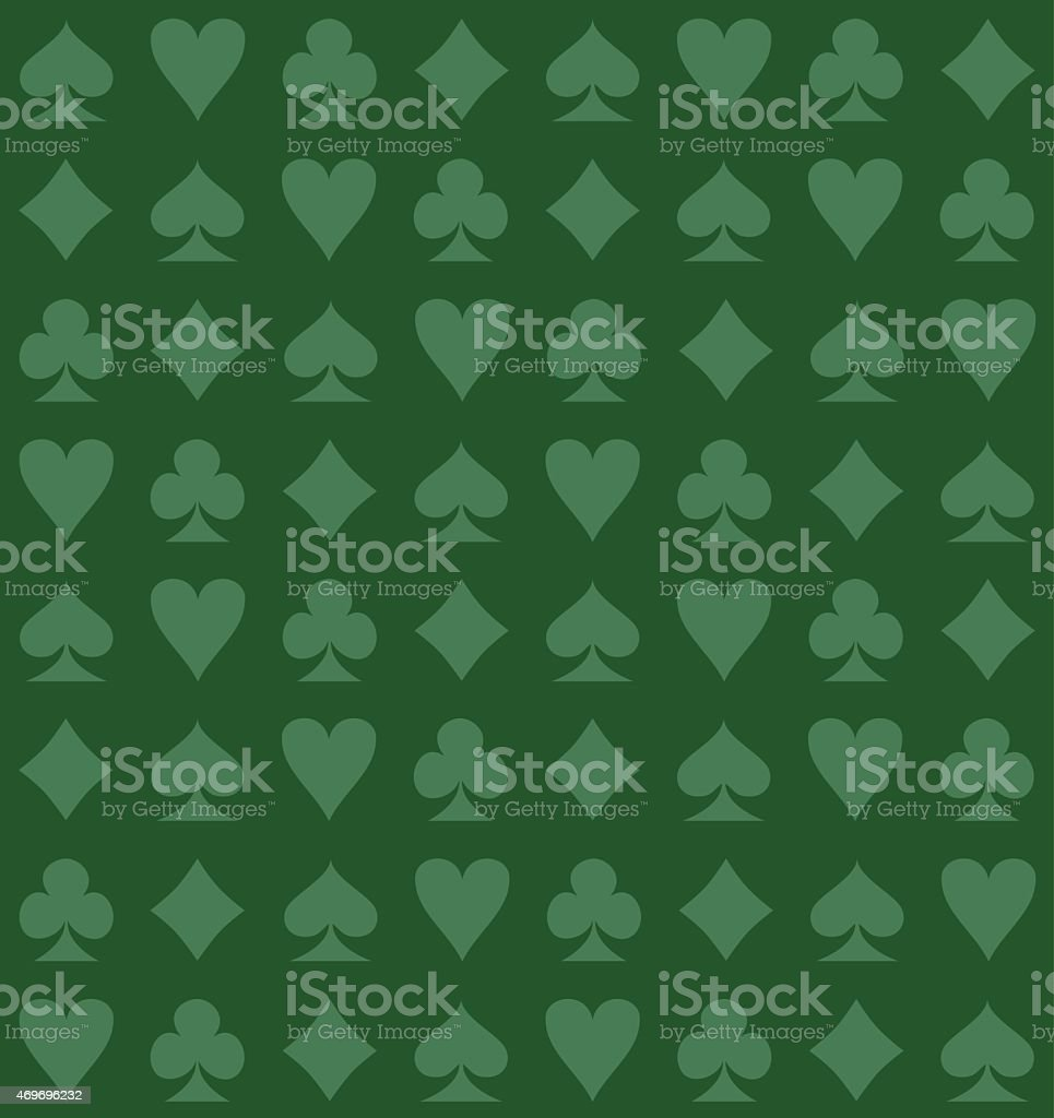 Light green playing card suit icons on dark green background vector art illustration