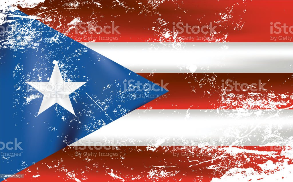 Light grunge effect flag of Puerto Rico royalty-free stock vector art