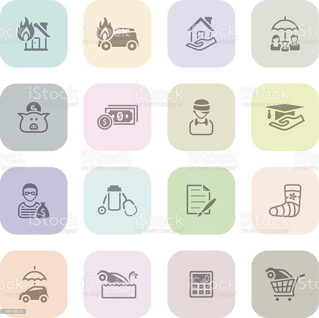 Light  Icons - Insurance vector art illustration