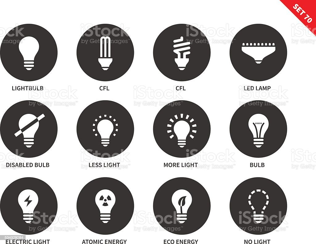 Light icons on white background vector art illustration