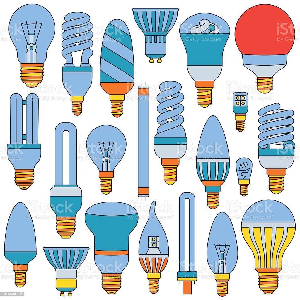 Light lamps set. Colored outlined icons vector art illustration