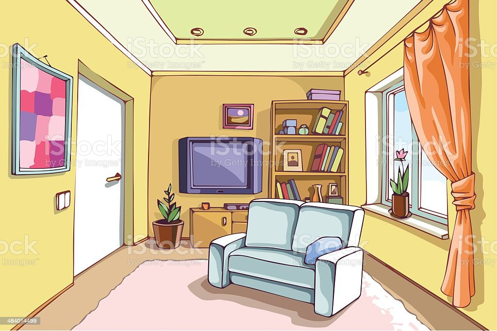 Light Living Room Royalty Free Stock Vector Art