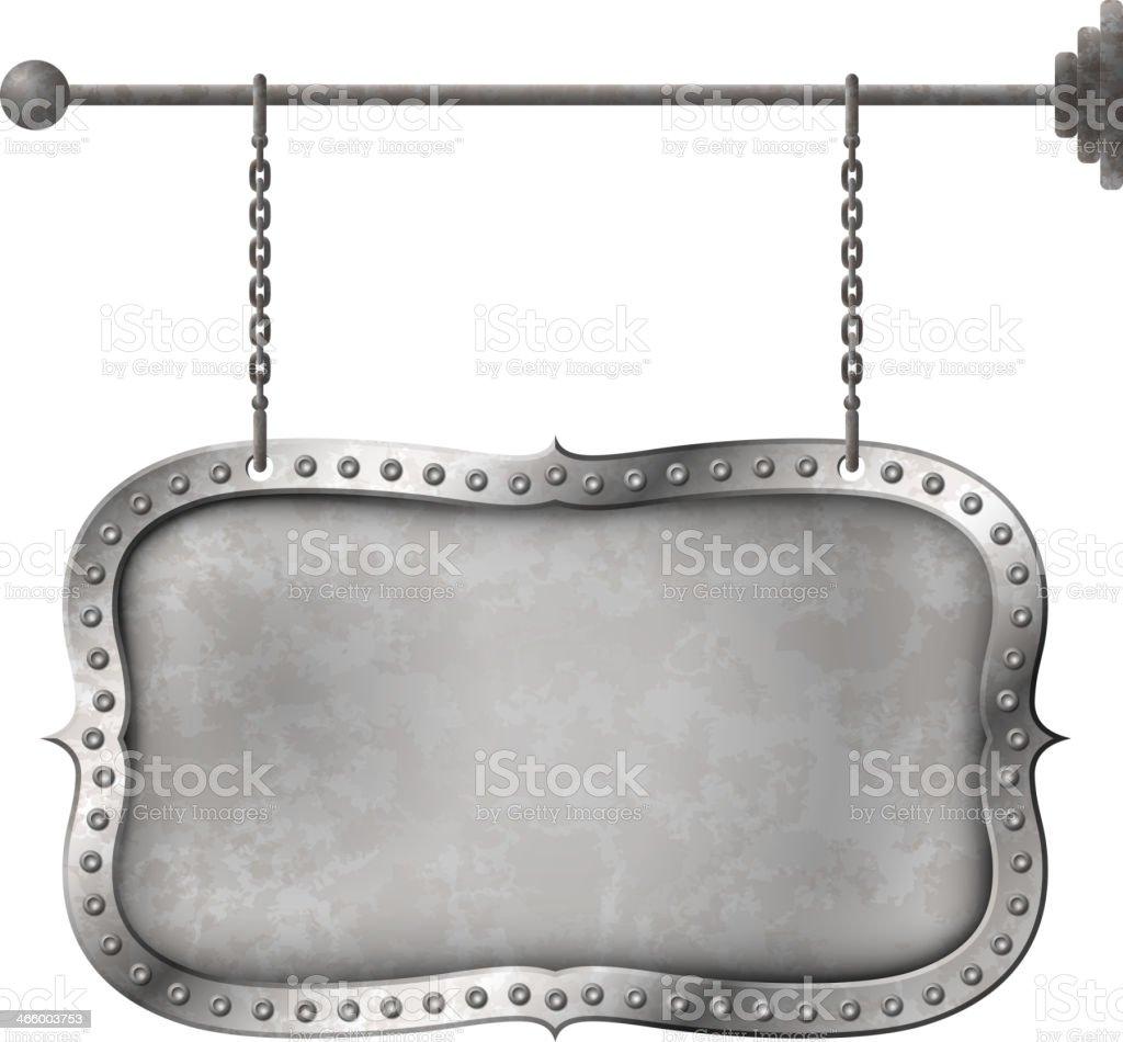 Light metal signboard on chains vector art illustration