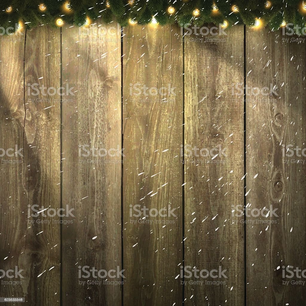 Light on blank wooden background with bright garland and snow vector art illustration