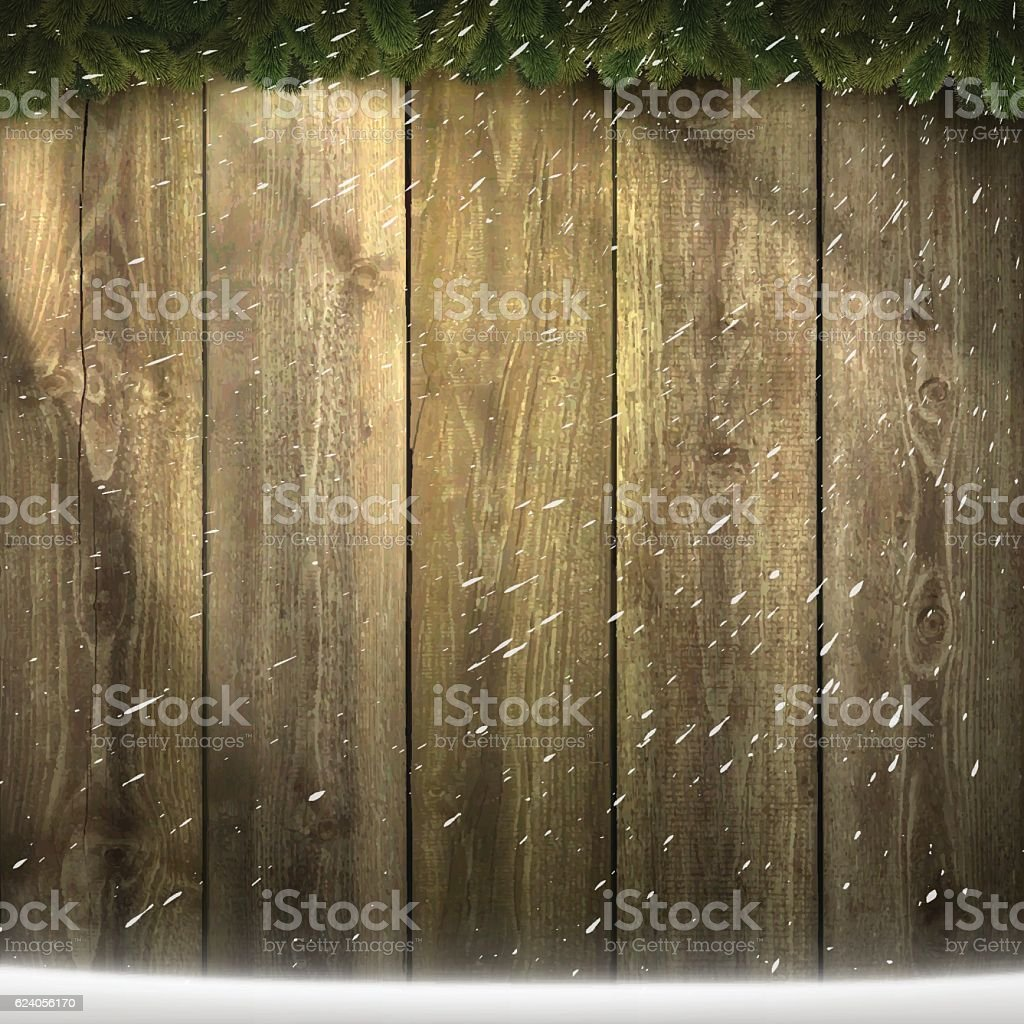 Light on blank wooden background with garland and snow vector art illustration