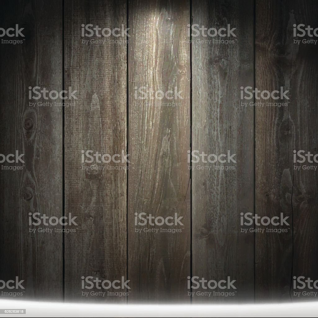 Light on blank wooden background with snow on the ground. vector art illustration