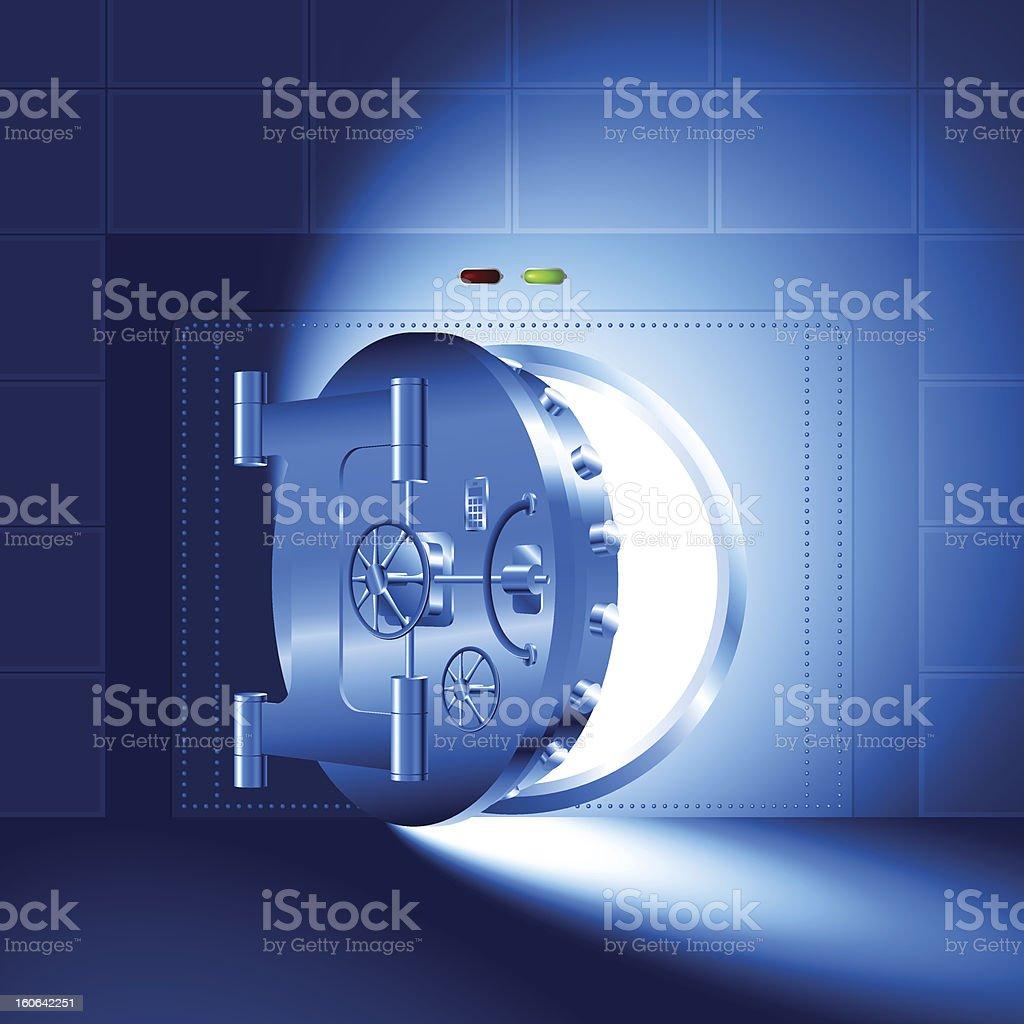 Light open door safe blue vector art illustration
