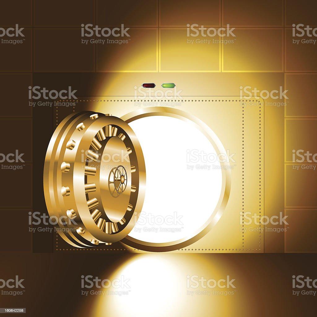 Light open door safe gold royalty-free stock vector art