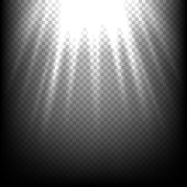 Light rays on black. Vector sunbeam scene transparent background