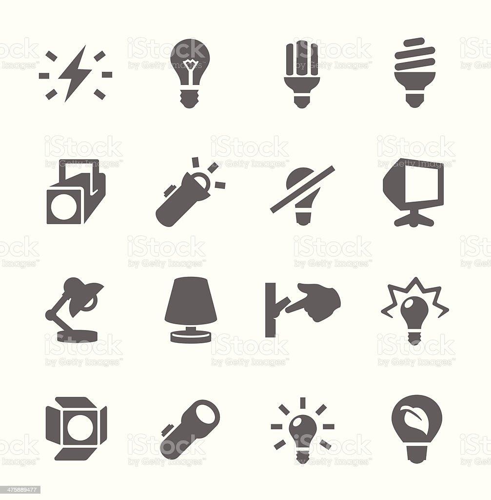 light source icons vector art illustration