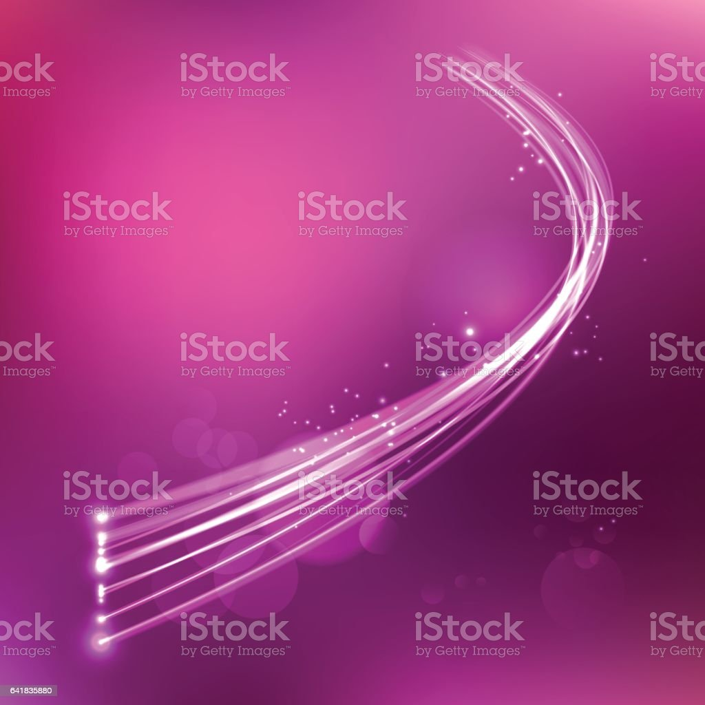 Light wave cable on purple dark space background vector art illustration