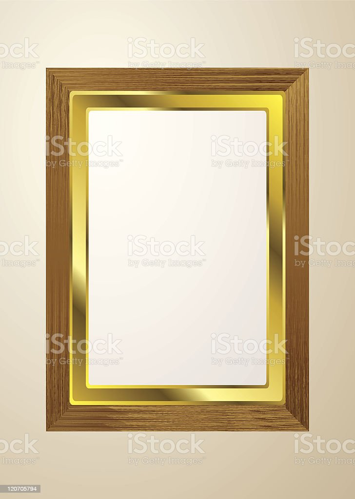 light wood picture frame vector art illustration