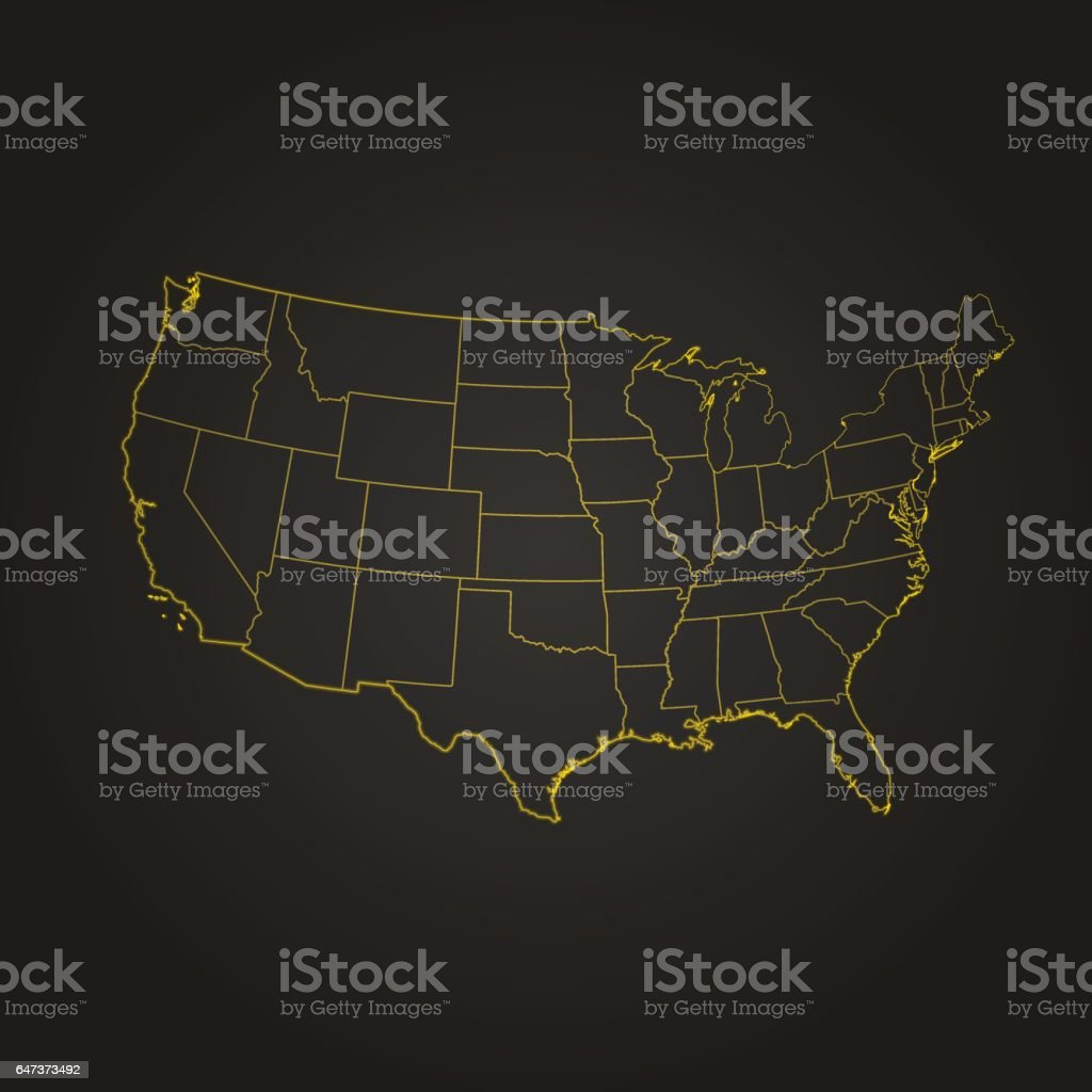 USA light yellow glow map on black dark background vector art illustration