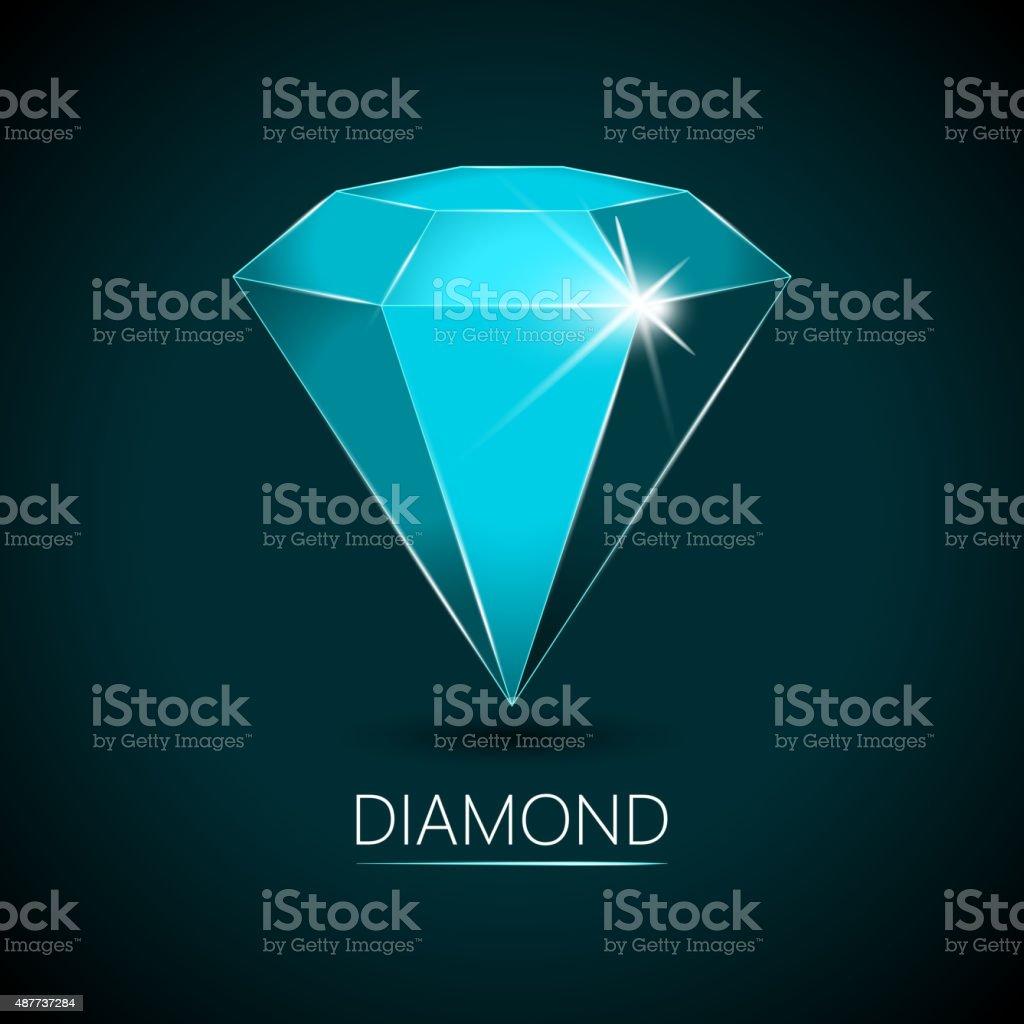 Light-Blue Colored Sparkling Diamond vector art illustration