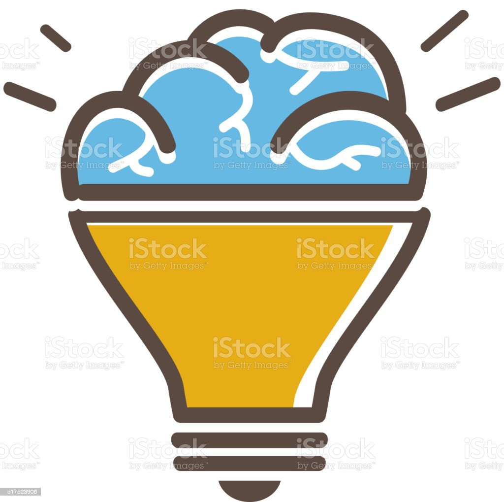 Lightbulb and brain idea concept icon vector art illustration