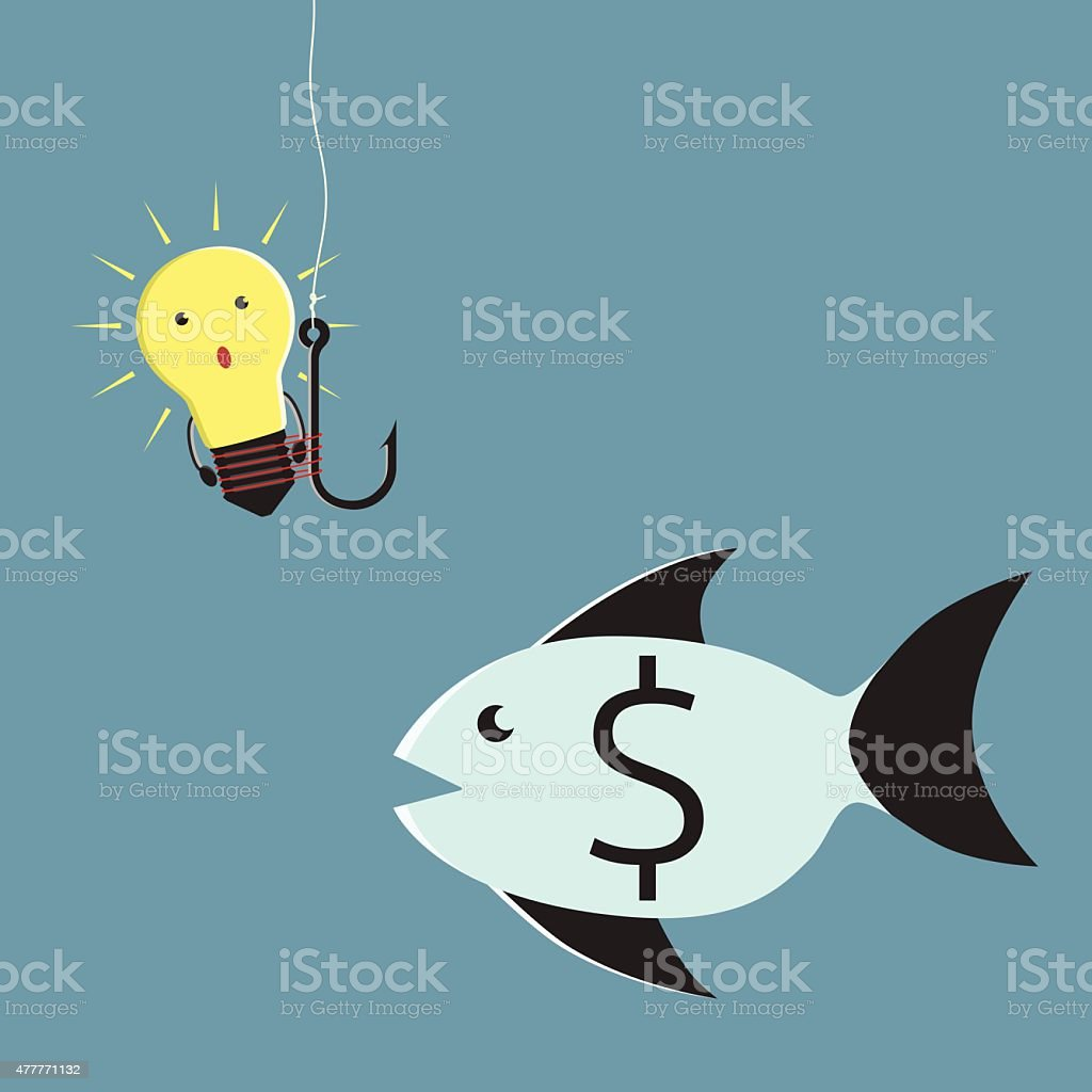 Lightbulb character and fish vector art illustration