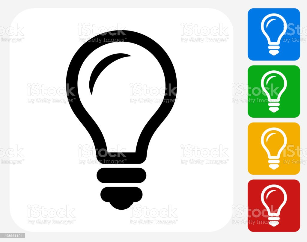 Lightbulb Icon Flat Graphic Design vector art illustration