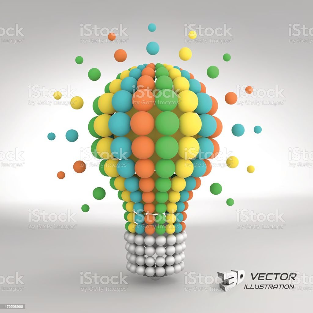Lightbulb. Idea concept. 3d vector illustration. vector art illustration