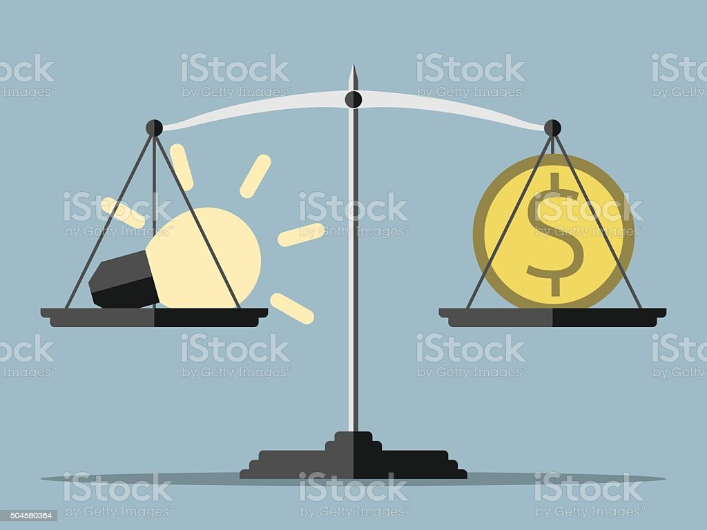 Lightbulb, money and balance vector art illustration