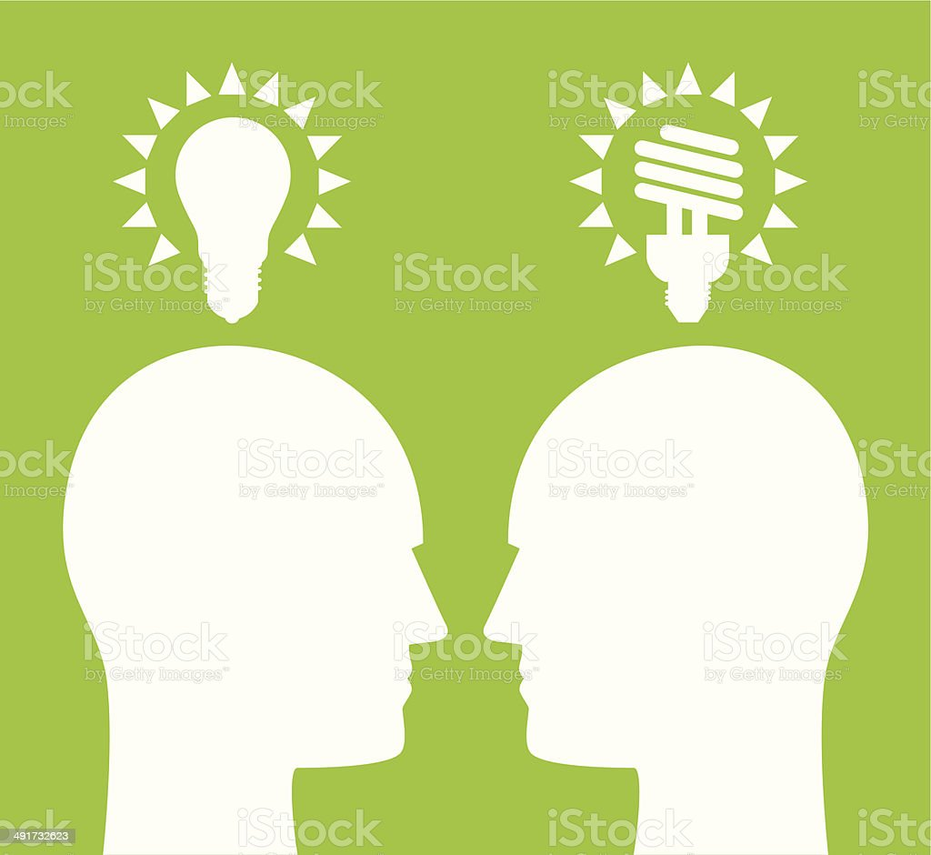 Lightbulb Profiles vector art illustration