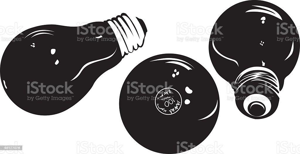 Lightbulb Silhouettes vector art illustration