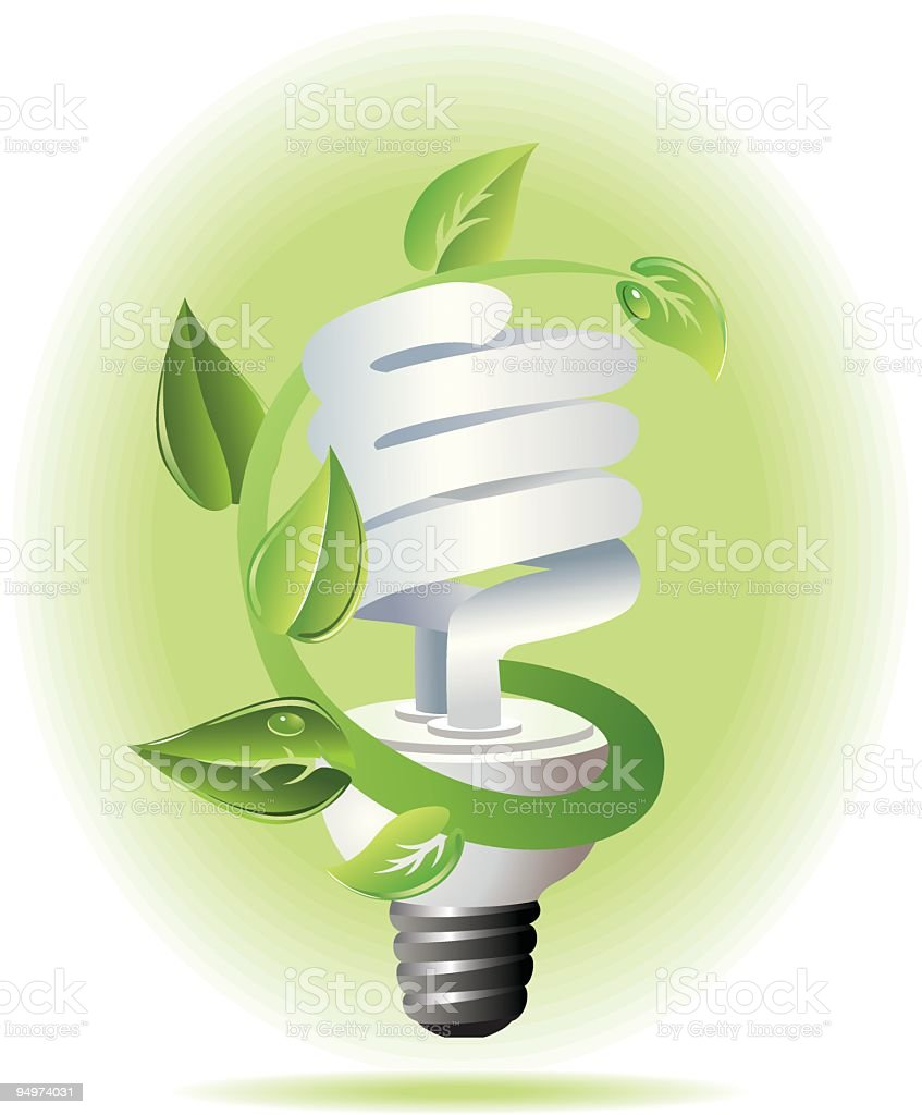 CFL (Compact Flouorescent) Lightbulb with Growing Plant - Environmental Awareness royalty-free stock vector art