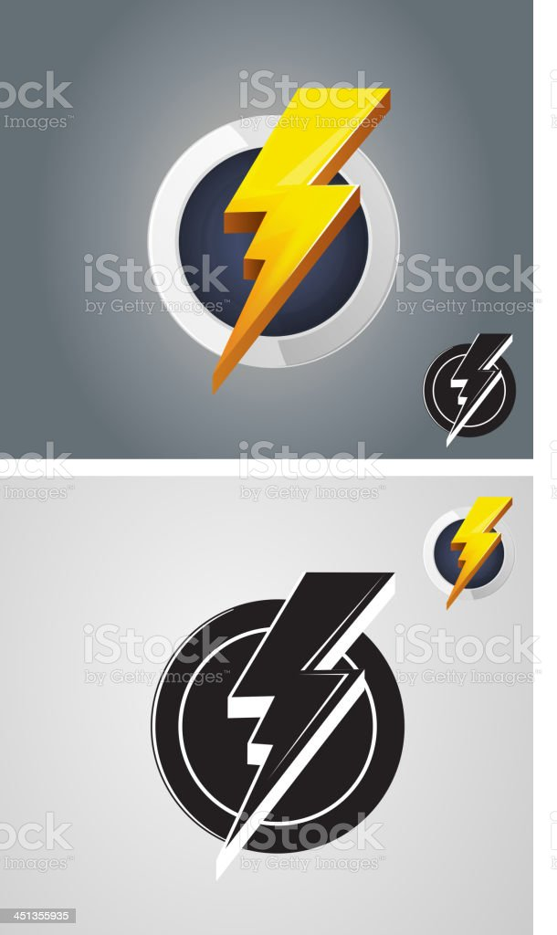 Lightening bolt icon in color and black and white royalty-free stock vector art