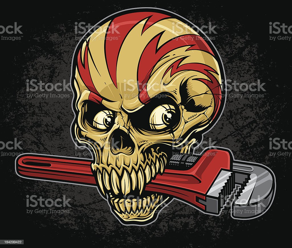 Lightening Skull with Pipe Wrench royalty-free stock vector art