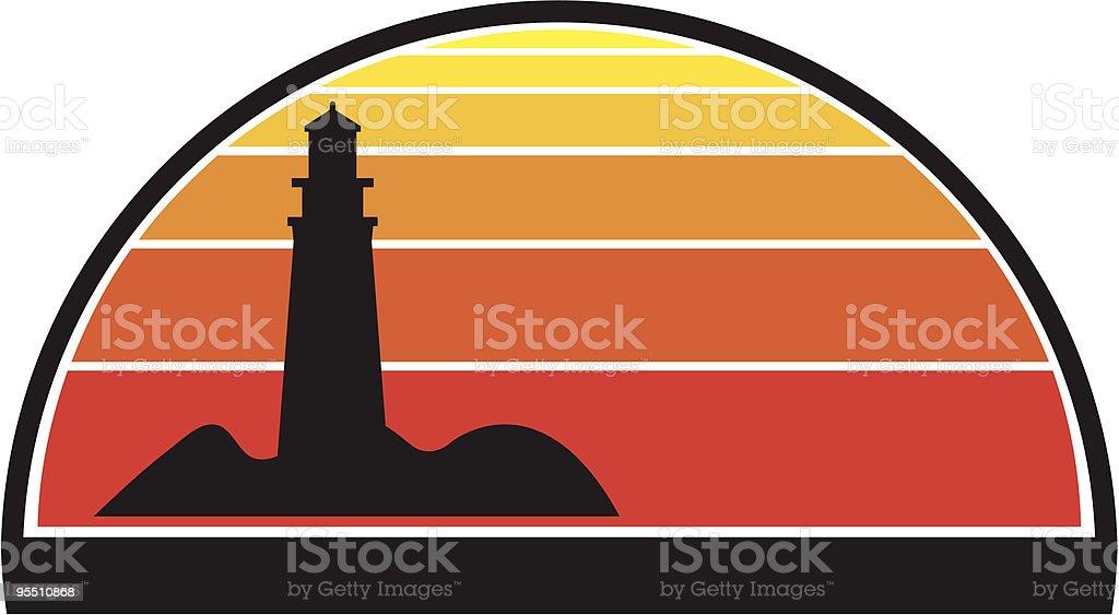 Lighthouse against sunset royalty-free stock vector art