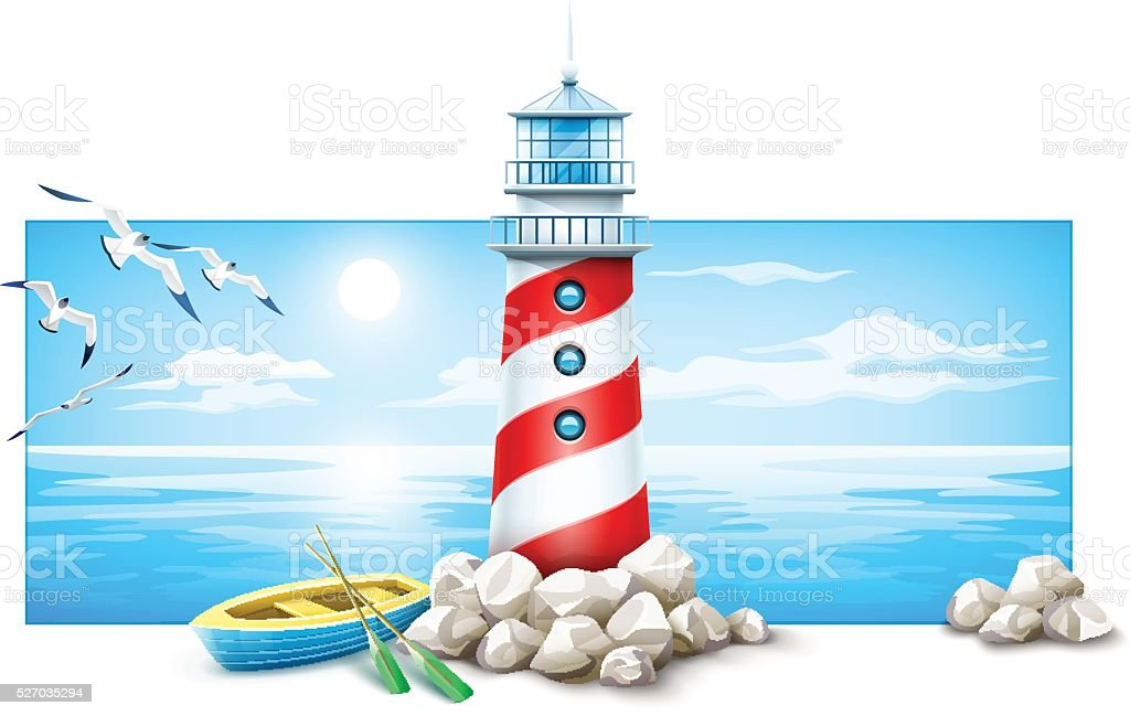 Lighthouse and boat at stones island sea sunset panorama vector art illustration