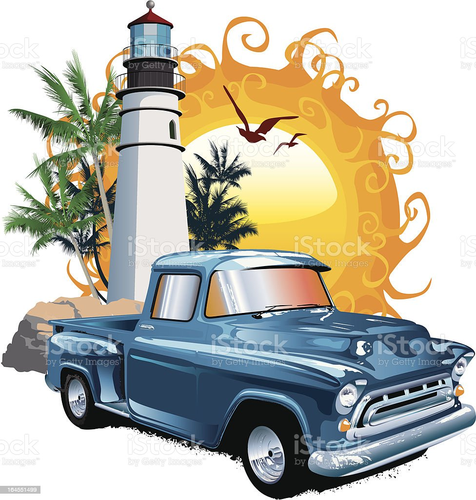 lighthouse and old pick-up vector art illustration