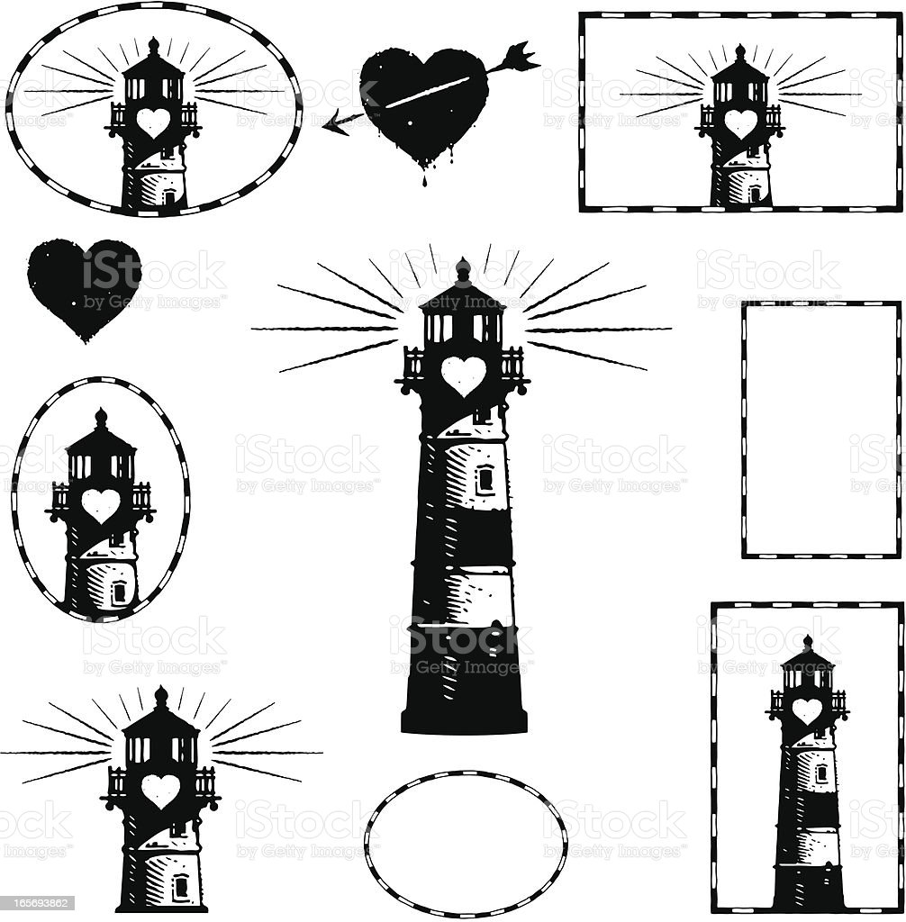 Lighthouse and Romance Design Elements royalty-free stock vector art