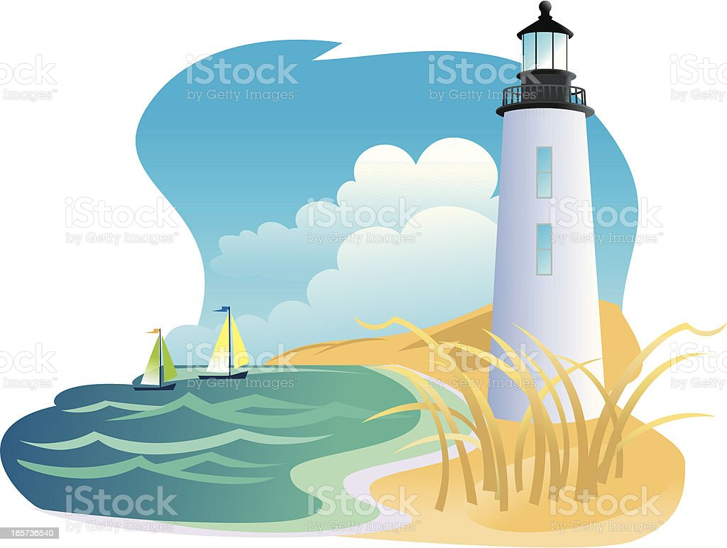 Lighthouse and Sailboats royalty-free stock vector art