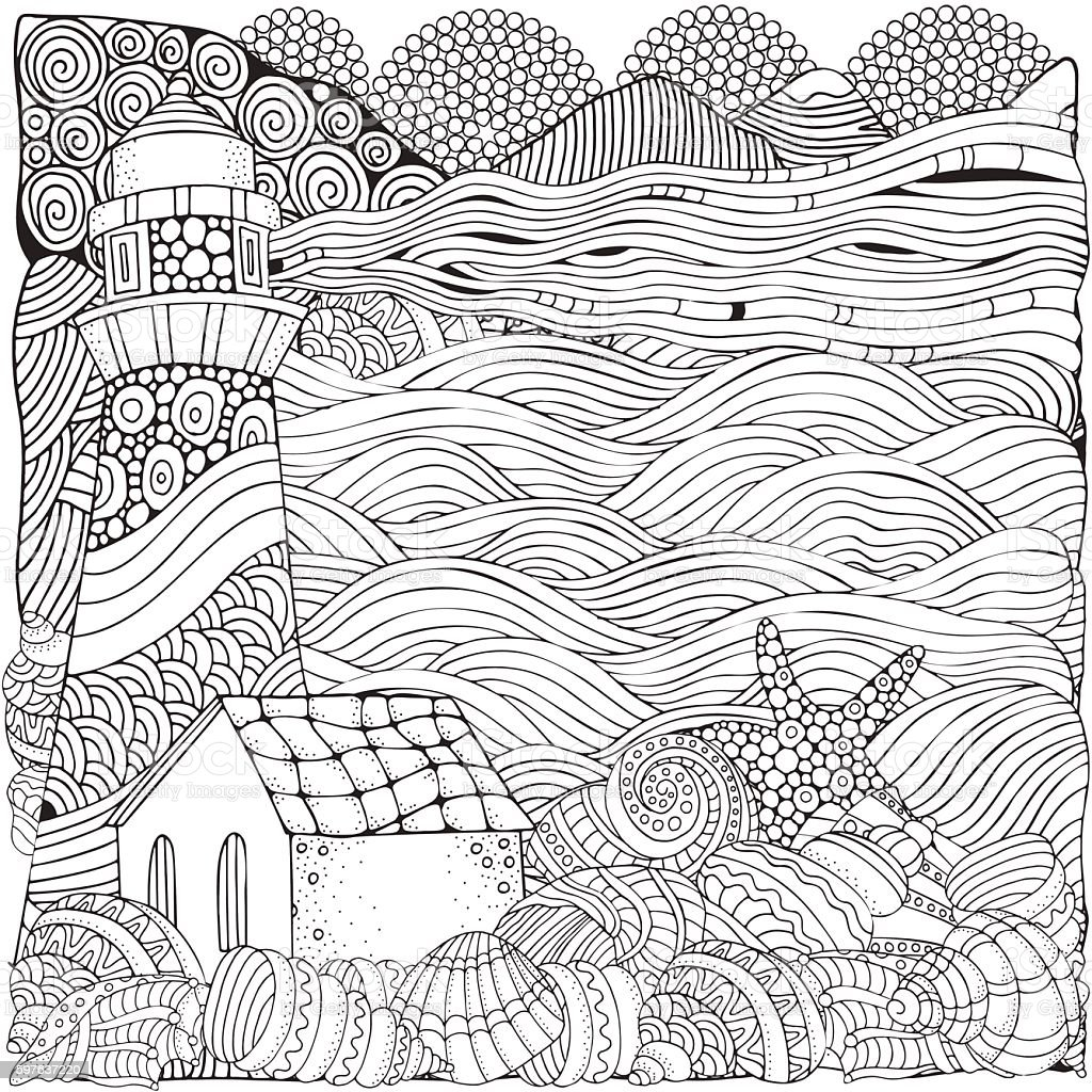 Lighthouse And Shells Seascape Coloring Book Page For Adult stock