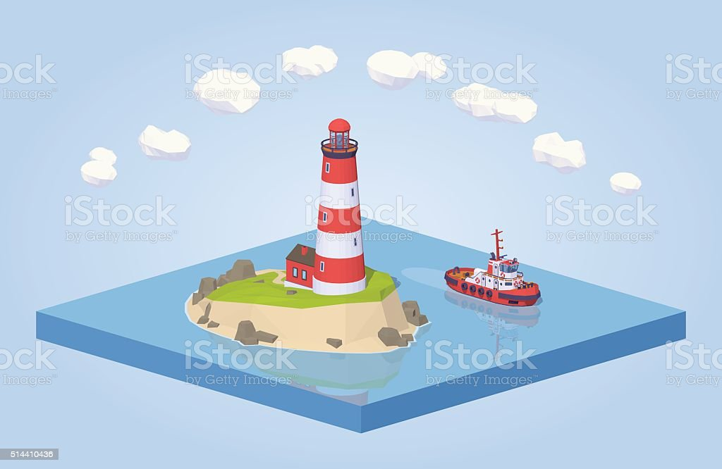 Lighthouse and tugboat vector art illustration