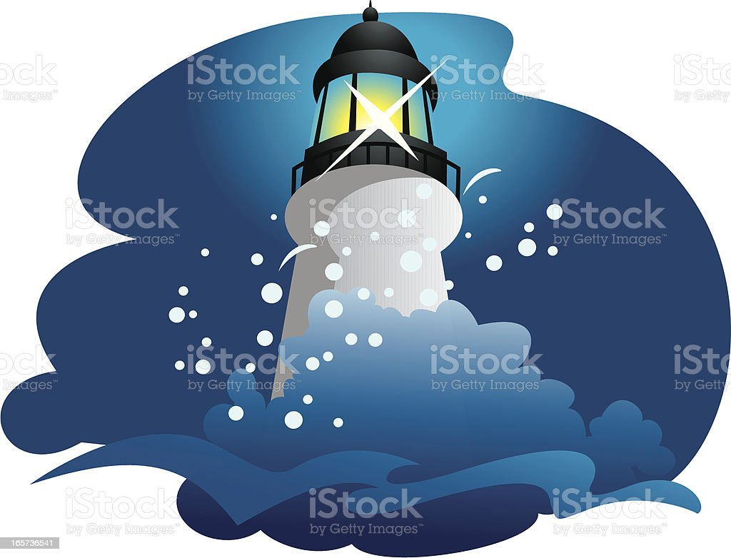 Lighthouse and waves crashing royalty-free stock vector art