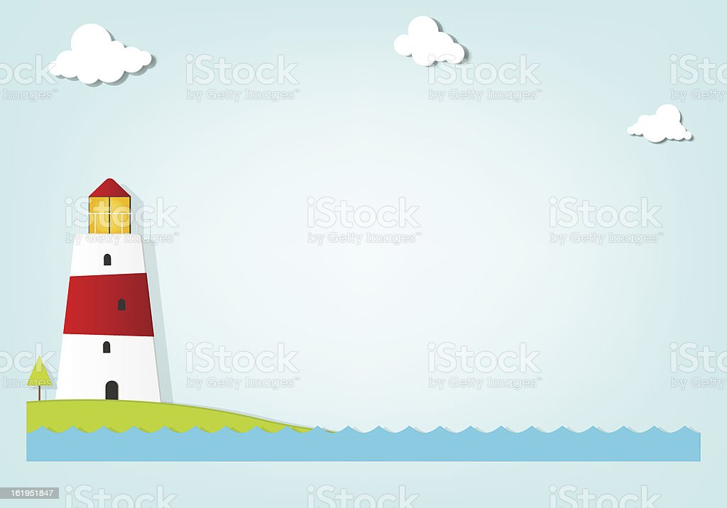 Lighthouse by the sea royalty-free stock vector art
