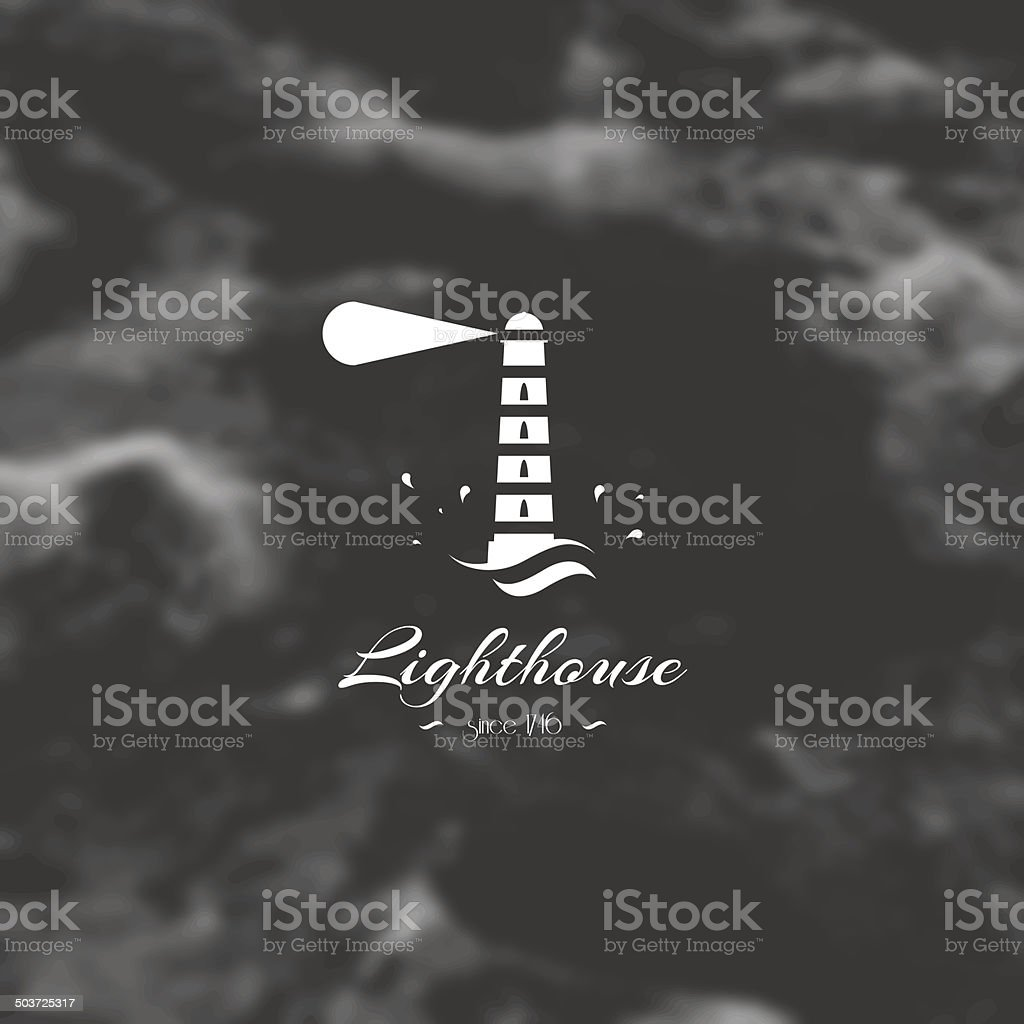 Lighthouse, element for design, silhouette sign. vector art illustration